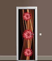 Вінілова 3Д наклейка на двері Вогненні Жоржини ПВХ плівка квіти Абстракція Коричневий 650*2000 мм, фото 1