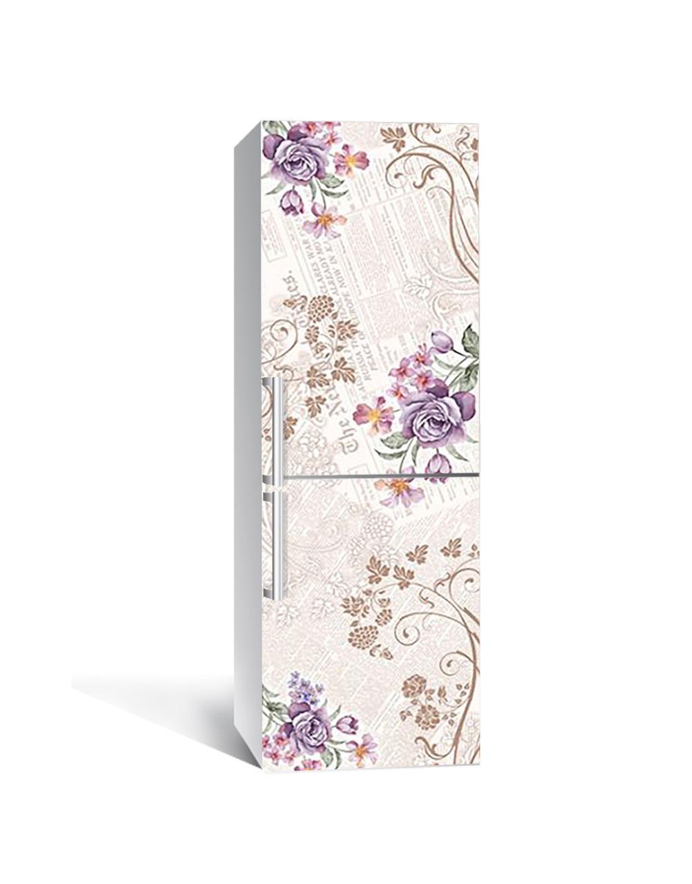Вінілова 3Д наклейка на холодильник Квіткові Візерунки ПВХ плівка самоклеюча Абстракція Бежевий 650*2000 мм