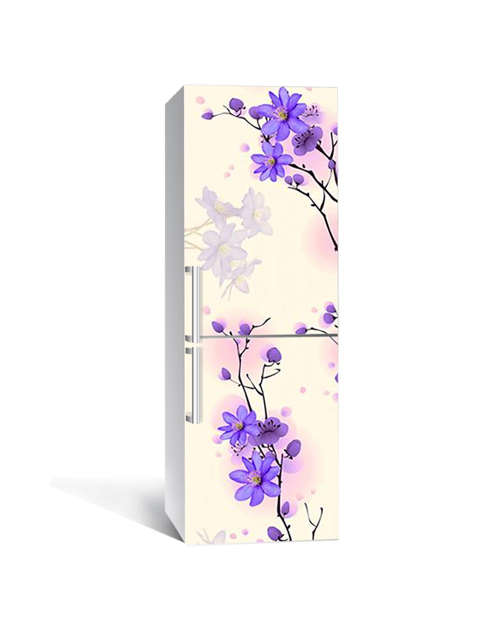 Виниловая 3Д наклейка на холодильник Фиолетовые цветы на ветке (ПВХ пленка самоклеющаяся) Бежевый 650*2000 мм