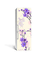 Виниловая 3Д наклейка на холодильник Фиолетовые цветы на ветке (ПВХ пленка самоклеющаяся) Бежевый 650*2000 мм, фото 1