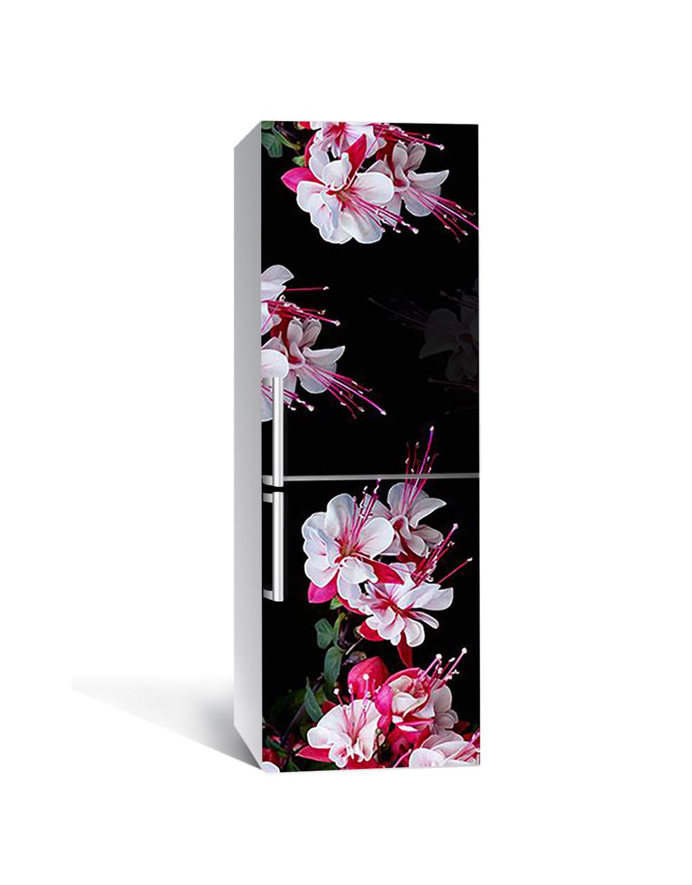 Виниловая 3Д наклейка на холодильник Свисающие Розовые Цветы (ПВХ пленка самоклеющаяся) тычинки Черный 650*2000 мм