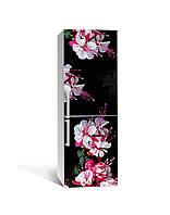 Виниловая 3Д наклейка на холодильник Свисающие Розовые Цветы (ПВХ пленка самоклеющаяся) тычинки Черный 650*2000 мм, фото 1