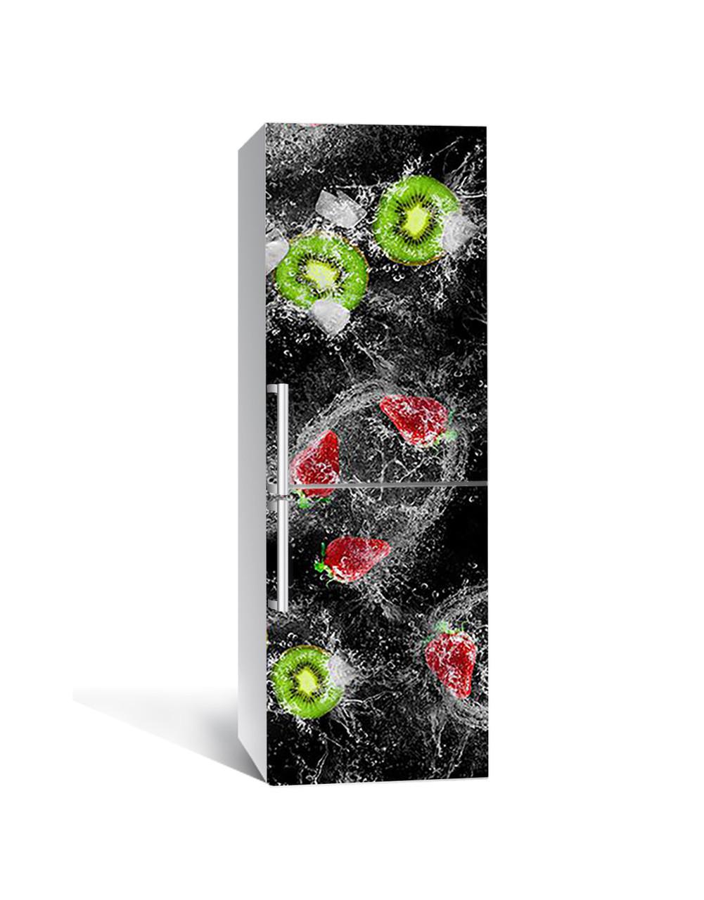 Виниловая 3Д наклейка на холодильник Киви Брызги (ПВХ пленка самоклеющаяся) клубника Ягоды вода Черный 650*2000 мм