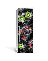 Виниловая 3Д наклейка на холодильник Киви Брызги (ПВХ пленка самоклеющаяся) клубника Ягоды вода Черный 650*2000 мм, фото 1