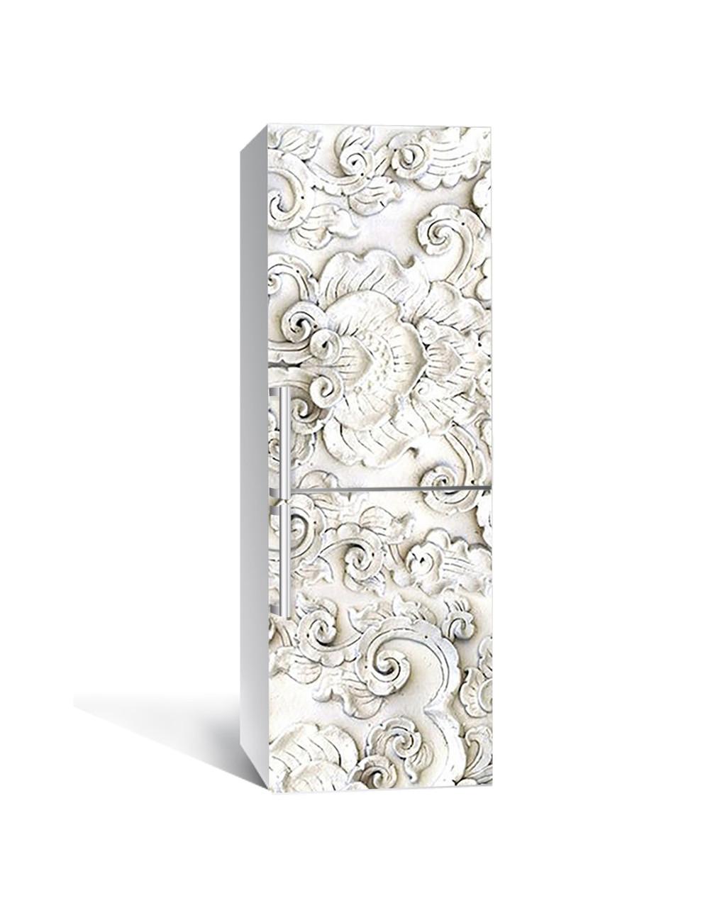 Вінілова 3Д наклейка на холодильник 3Д Ліпнина ПВХ плівка самоклеюча візерунки орнамент Текстура Сірий