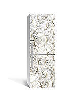 Вінілова 3Д наклейка на холодильник 3Д Ліпнина ПВХ плівка самоклеюча візерунки орнамент Текстура Сірий, фото 1