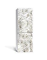 Виниловая 3Д наклейка на холодильник 3Д Лепнина ПВХ пленка самоклеющаяся узоры орнамент Текстуры Серый, фото 1