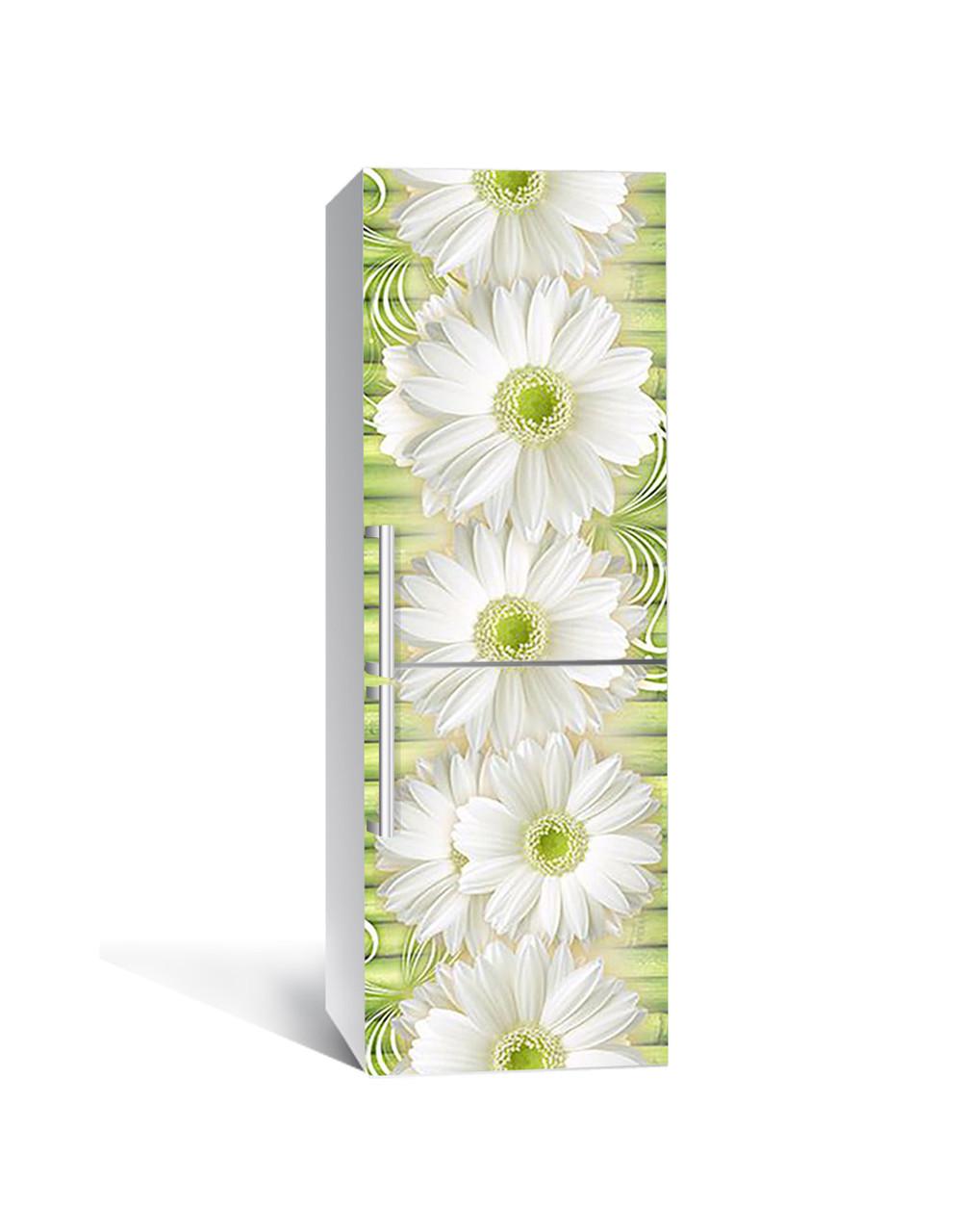 Виниловая 3Д наклейка на холодильник Ромашки и Бамбук (ПВХ пленка самоклеющаяся) крупные Цветы Желтый 650*2000 мм