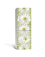 Виниловая 3Д наклейка на холодильник Ромашки и Бамбук (ПВХ пленка самоклеющаяся) крупные Цветы Желтый 650*2000 мм, фото 1
