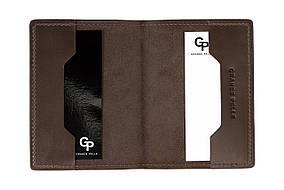 Мужская кожаная обложка для паспорта Grande Pelle 252120 шоколад,  обложка на паспорт из натуральной кожи