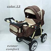 Коляска Tvister Comfort коричневая + бежевая