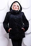 Полушубок женский из эко-меха под каракуль - 214 черный, фото 3