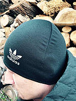 Мужская черная трикотажная шапка  с флисовым подкладом  Adidas