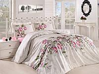 Качественное постельное белье, семейка,белое/розовые цветы