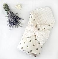 Конверт одеяло на выписку для новорожденных Звезды демисезонный хлопок + плюш Минки ванильный