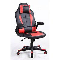 Кресло кожаное игровое геймерское для компьютера и офиса с системой качания TILT красное