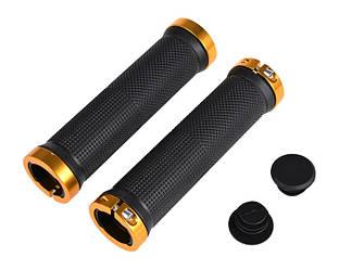 Ручки вело керма ( гріпси ) H-39 чорного кольору з золотистим замком / гумові з замками
