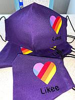 Маска тканевая с логотипом Likee фиолетовая