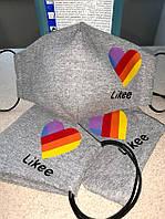 Маска тканевая с логотипом Likee серая