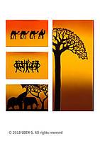 """Дизайн-радиатор """"Африка"""" (квадриптих)"""
