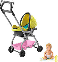 Набор Barbie Уход за малышами Коляска с малышом желтая, фото 1