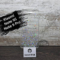 Силиконовый чехол с рисунком для Xiaomi Redmi Note 9S Star Glitter Прозрачный