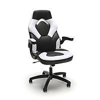 Кресло кожаное игровое геймерское для компьютера и офиса комфортное белое