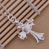 """Женская подвеска """"Крест"""" №2, покрытие серебро 925"""