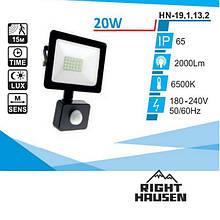 Прожектор RIGHT HAUSEN SOFT LINE led 20W 6500K IP65 ЧОРНИЙ c датчиком руху HN-191132N