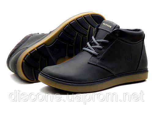 Ботинки зимние H.Denim мужские черные, кожаные