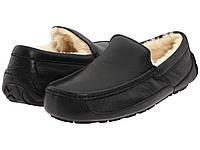 Зимние мужские мокасины Ugg Australia Ascot Leather (угги, угг, уги) черные