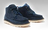 Зимние мужские ботинки Ugg Australia David Bakham (угги девид бекхем) замшевые синие, угги мужские