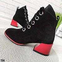 Женские замшевые ботинки с красным каблуком, фото 1