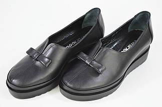 Туфли на танкетке Evromoda 01906 черные кожа, фото 3