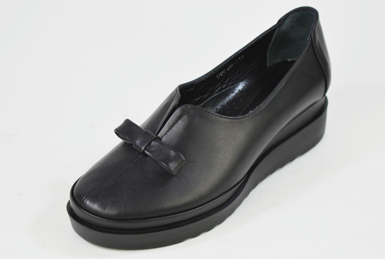 Туфли на танкетке Evromoda 01906 черные кожа
