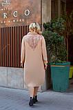 Женское платье свободного фасона костюмка сзади вышивка размер батал: 52-54, 56-58, 60-62, 64-66, фото 2