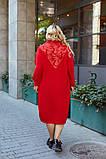 Женское платье свободного фасона костюмка сзади вышивка размер батал: 52-54, 56-58, 60-62, 64-66, фото 4