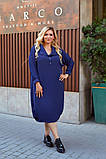 Женское платье свободного фасона костюмка сзади вышивка размер батал: 52-54, 56-58, 60-62, 64-66, фото 3