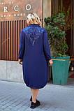 Женское платье свободного фасона костюмка сзади вышивка размер батал: 52-54, 56-58, 60-62, 64-66, фото 7