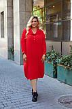 Женское платье свободного фасона костюмка сзади вышивка размер батал: 52-54, 56-58, 60-62, 64-66, фото 9