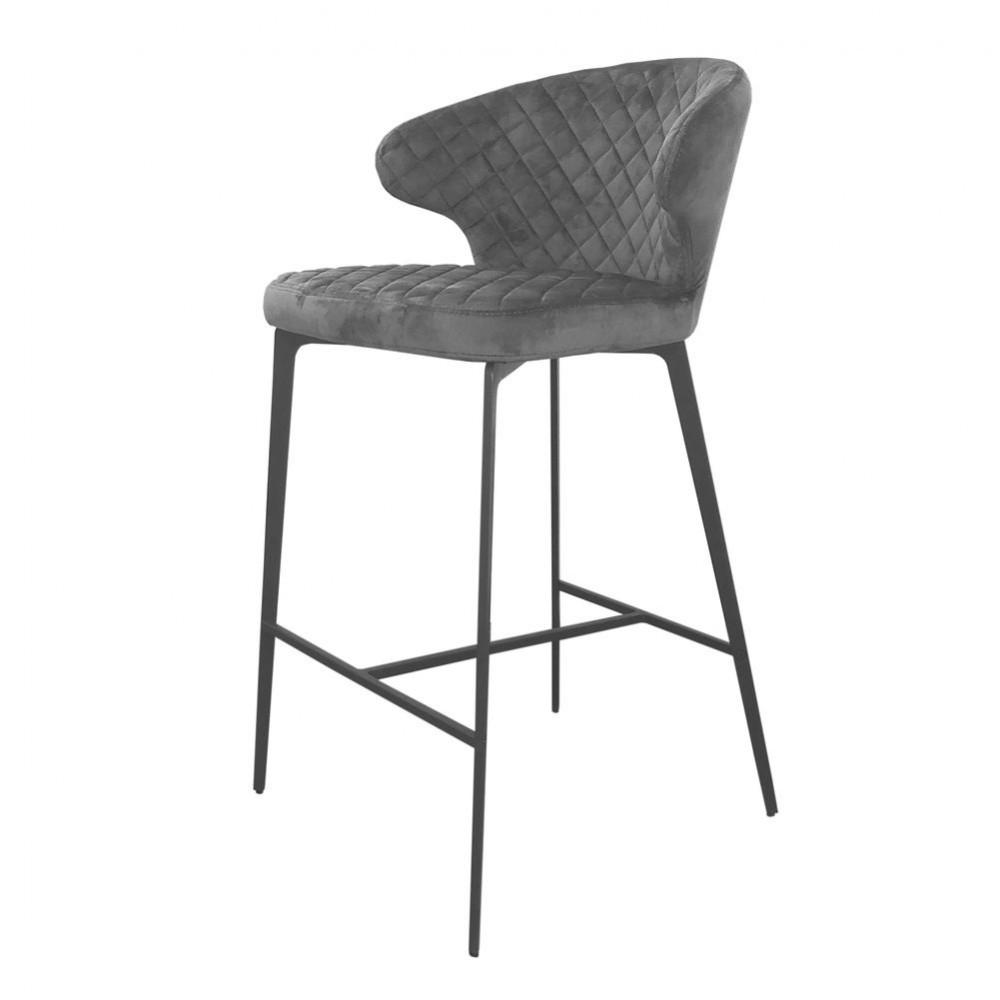 Барный стул KEEN (Кин) серый велюр от Concepto, стационарный