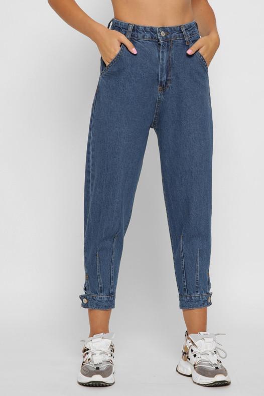 Женские джинсы свободные с высокой талией и манжетами укороченные