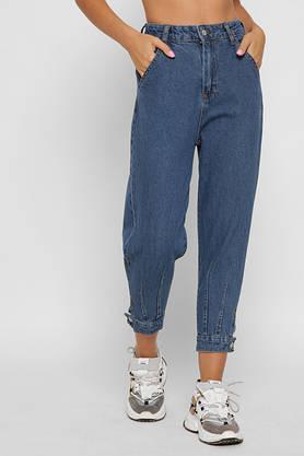 Женские джинсы свободные с высокой талией и манжетами укороченные, фото 3