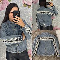 Женская джинсовая куртка с кружевом и жемчугом