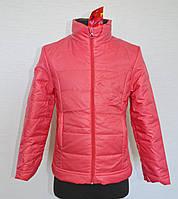Детская куртка для девочек 5-8лет кораллового цвета, демисезонная