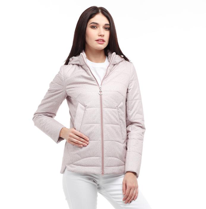 Куртка женская с капюшоном демисезонная ороткая высокого качества, цвет пудра, размер 42-56