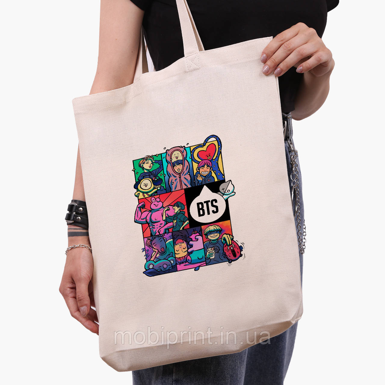 Эко сумка шоппер белая БТС (BTS) (9227-1078-1)  экосумка шопер 41*39*8 см