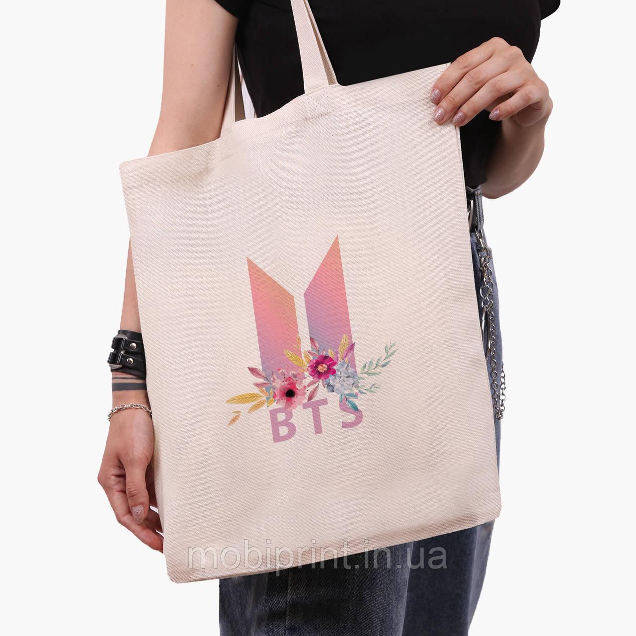 Эко сумка шоппер БТС (BTS) (9227-1081)  экосумка шопер 41*35 см