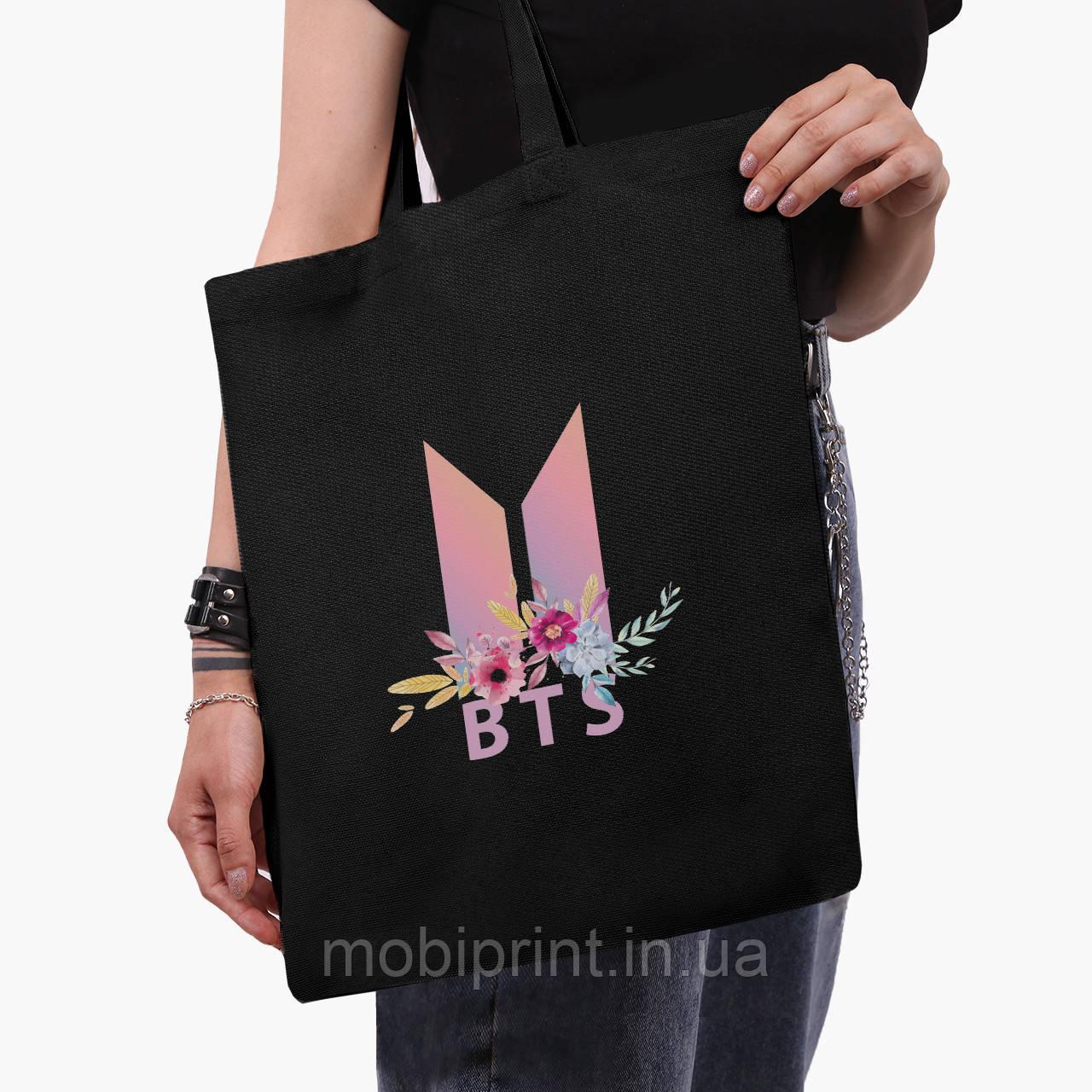 Эко сумка шоппер черная БТС (BTS) (9227-1081-2)  41*35 см