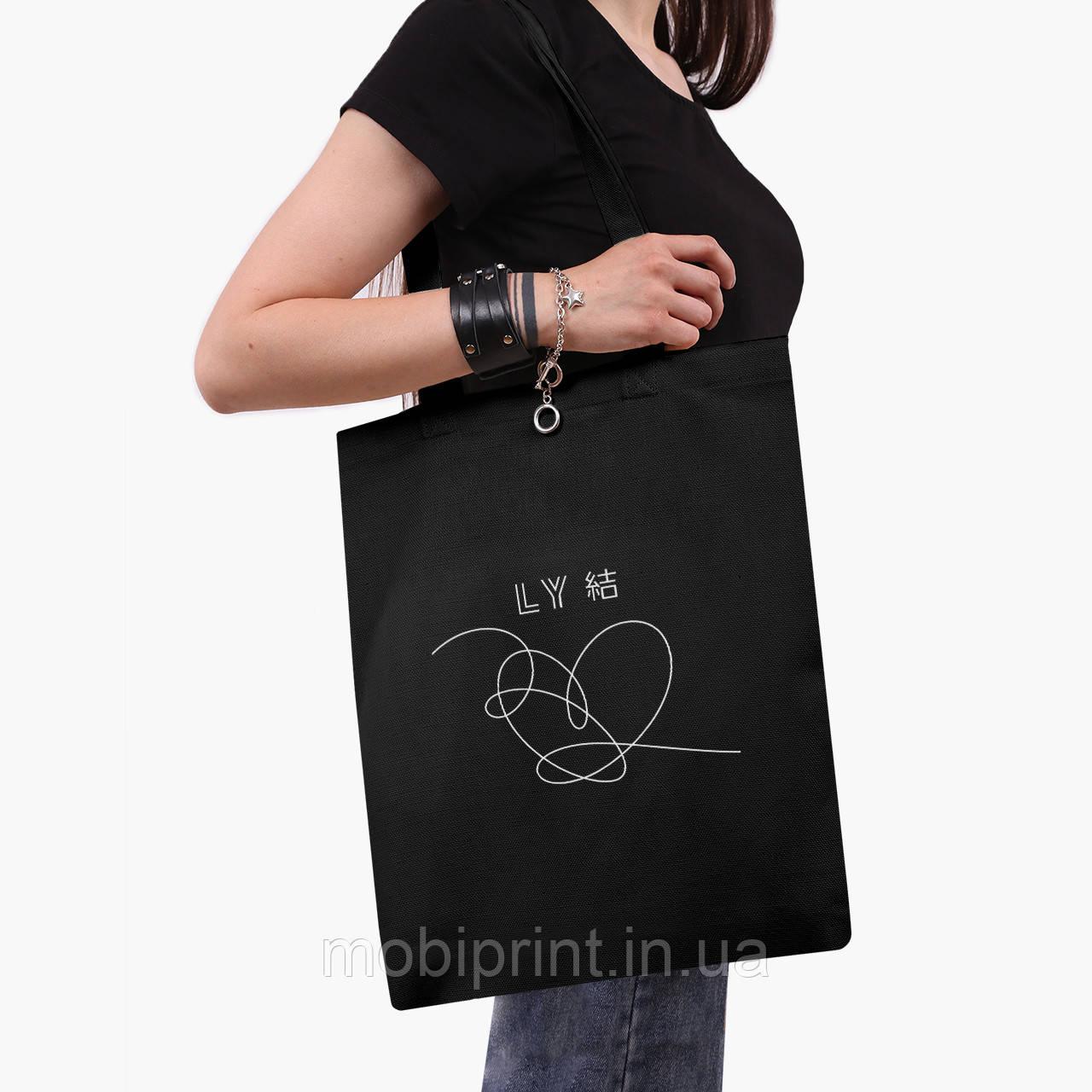 Еко сумка шоппер чорна БТС (BTS) (9227-1080-2) екосумка шопер 41*35 см
